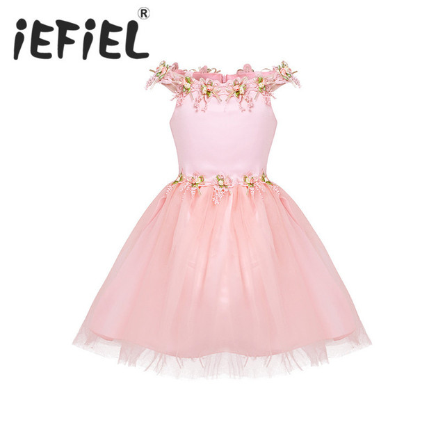 9ab42c29c79 iEFiEL Cute Kids Girls Dresses Mesh Off Shoulder Flower Girls Tulle Dress  Princess Pageant Wedding Birthday Party Summer Dress