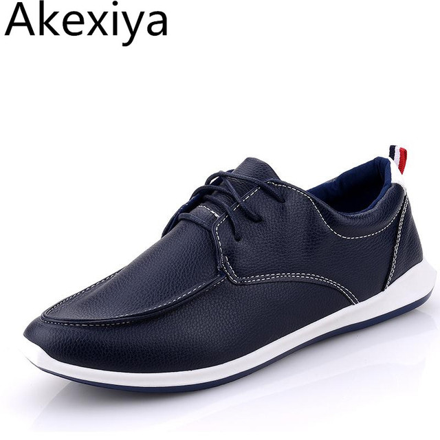 Akexiya 2017 Fashion Style Men's PU Leather Shoes Korean Version Casual Breathable Outdoor Driving Flats Shoes