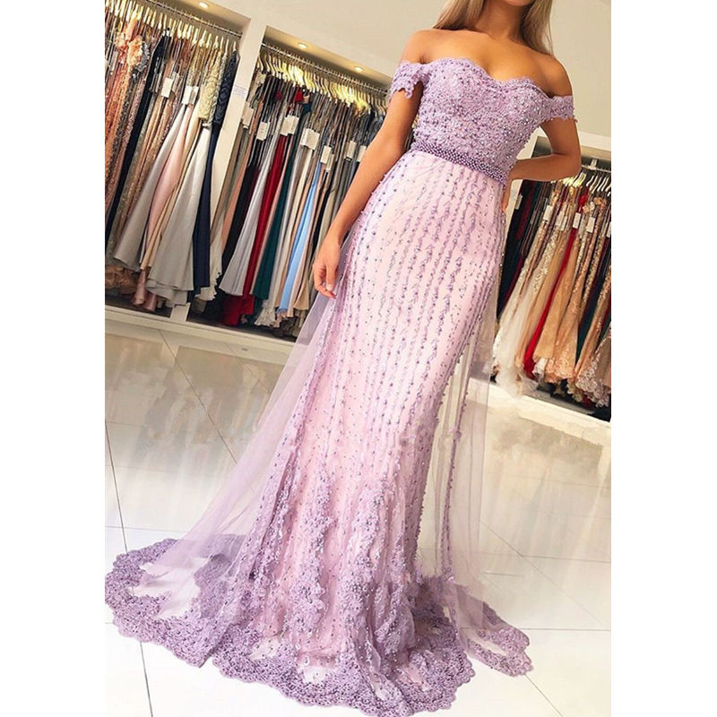 Elegant Light purple Mermaid   Prom     dresses   Long Beading Appliques Crystal Pearls Tulle Evening gown Women vestidos de fiesta