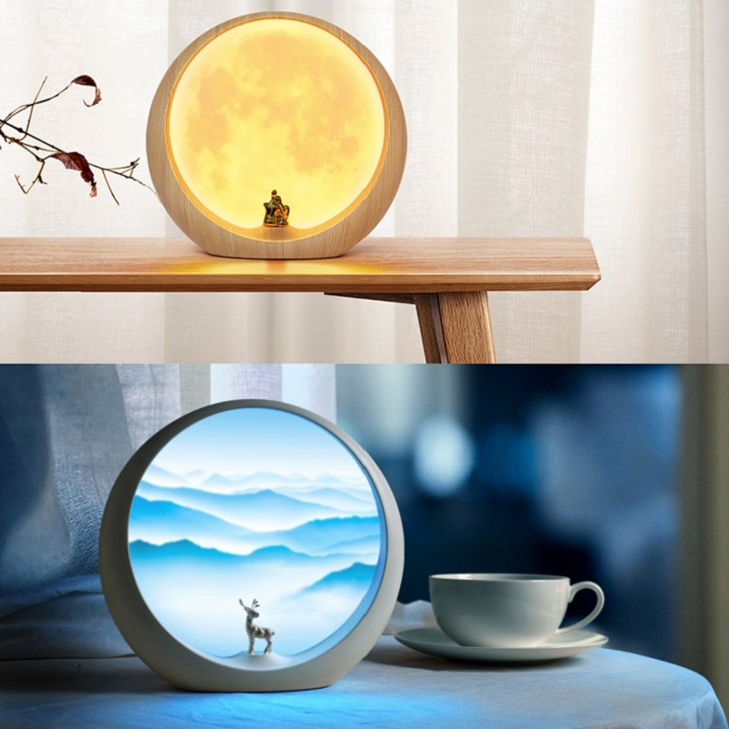 Creative LED Moon Lamp Rechargeable 3D Moonlight Night Light Touch Switch 3 Modes Table Lamps Home Desk Decor Holiday Gift