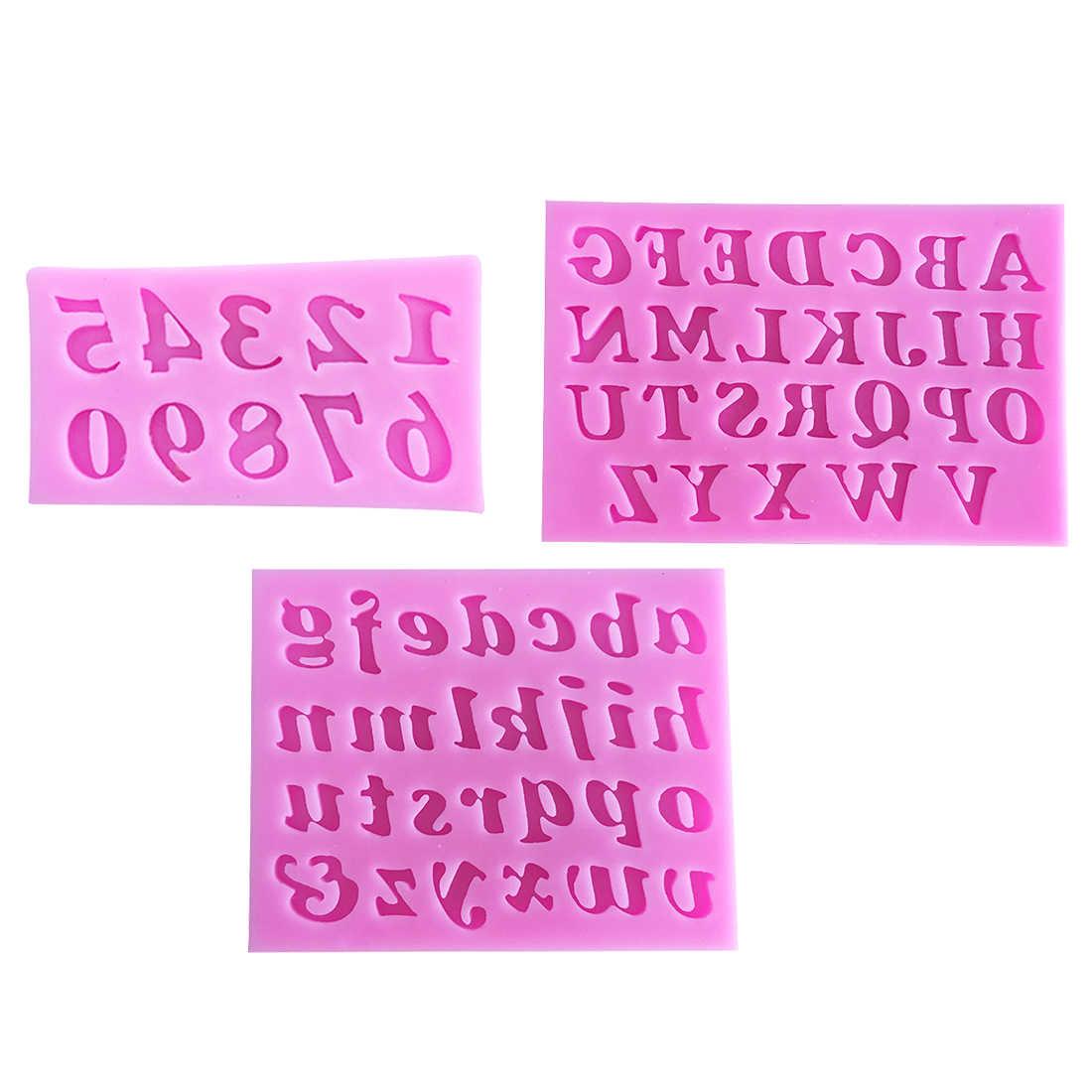 Molde de silicona 3 unids/set para hornear Pan pastel decoración letras en inglés número de forma molde para jabón o chocolate pastel plantillas cocina pastelería