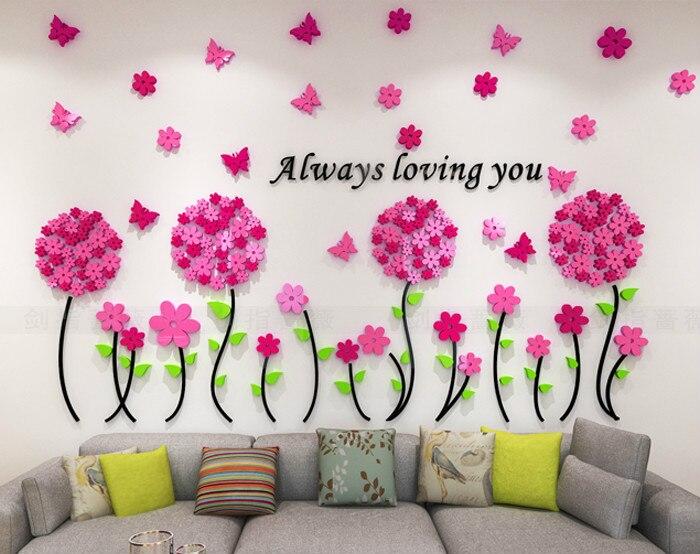 Muurstickers Slaapkamer Bloemen : Acryl bloemen paardebloem d stereo muursticker slaapkamer