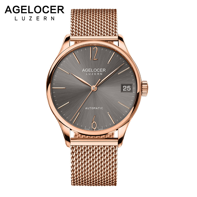 AGELOCER Swiss Mens Watches Brand Luxury Automatic Watches Gold Date 2018 New Men Steel Relogio Masculino Fashion Wristwatches switzerland agelocer top brand automatic watches men luxury 18k gold 316l steel mesh watch with date clock man relogio masculino
