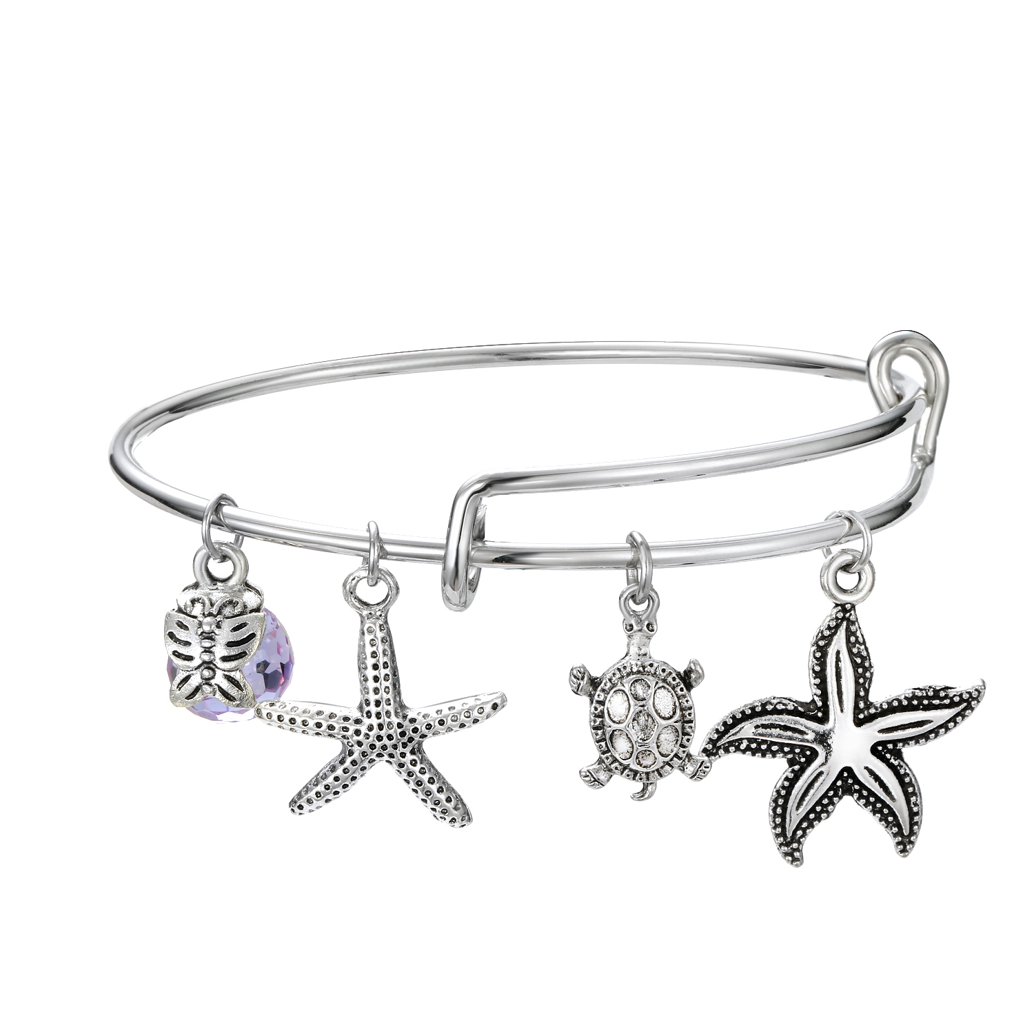 925 Silver Starfish shell Pendant charm bracelets Spring Bangle For Women Fashion Brand Bead Jewelry Gift