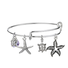 925 Silver Starfish shell Pendant charm bracelets Spring Bangle For Women Fashion Brand Bead Jewelry Gift ztung hb20 charm bracelets classic 925 sterling silver have many color for women s girls wonderful gift jewelry bangle