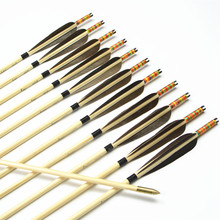 12pcs Handmade 33″color and black Featured Wooden Arrows with Copper Point for Shooting Recurve bow or Longbow