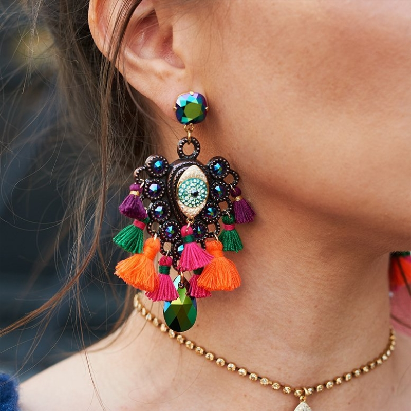 JURAN Big Colorful Bohemian Tassel Earrings Statement Jewelry Wholesale Vintage Ethnic Crystal Long Fringing Earrings Oorbellen