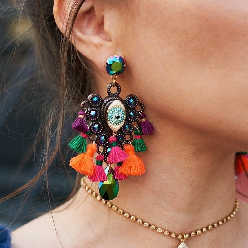 JURAN Big Colorful Bohemian Tassel Earrings Statement Jewelry Wholesale Vintage Ethnic Crystal Long Fringing Earrings Oorbellen