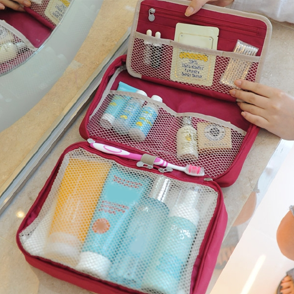 Hanging Toiletry Kit Travel Storage Bag Cosmetic Carry Case Pockets Womens Gril Gift Traveling Bathroom