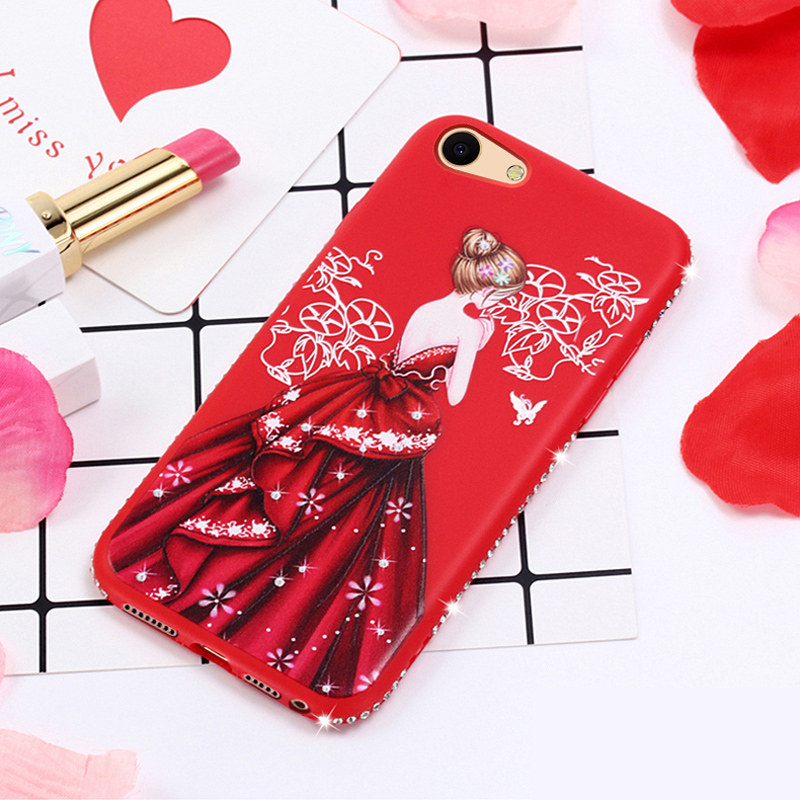 New Luxury Rhinestone Pretty Girl Emboss Pattern Soft Case For OPPO A83 A79 A77 A73 A59 A53 A39 A37 A33 F7 Cover