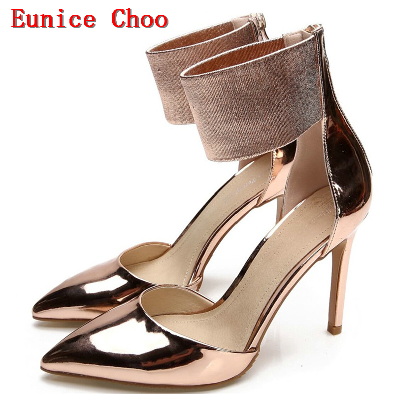 Gold Silver Patent Leather High-heeled Shoes Eunice Choo 2018 Summer Ankle Elastic  Band Side bb453d7feea0