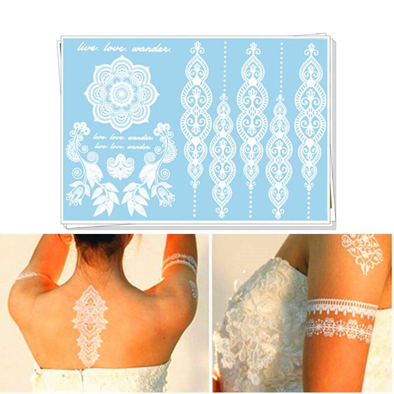 Hochzeitsdekoration White Lace Makeup - Party Temporäre Tattoo Aufkleber - Braut & Bräutigam Hochzeits-Verlobungsfeier Body Art