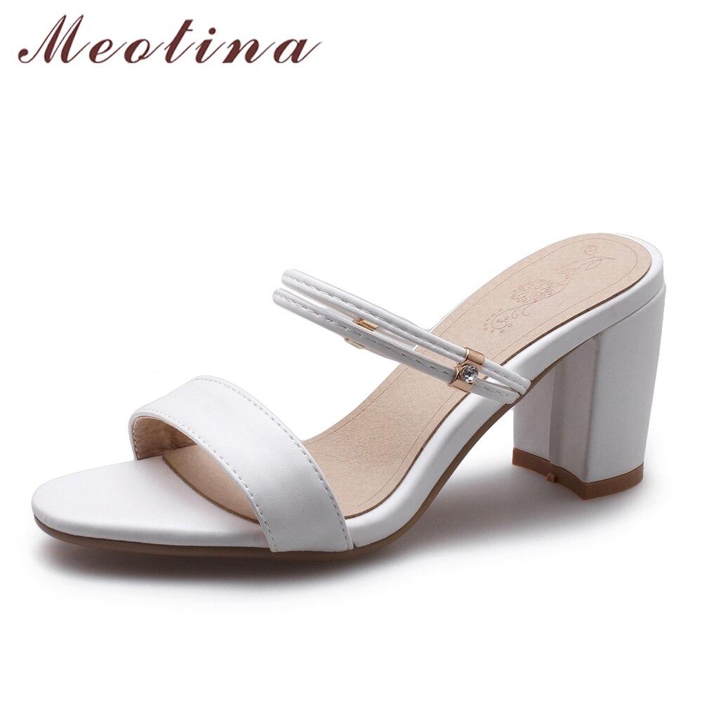 где купить Meotina Women Sandals High Heels Ladies Summer Shoes White Peep Toe Block Heels Female Slippers Black 2018 New Large Size 33-43 по лучшей цене
