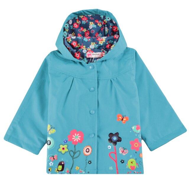 2017 Spring Autumn Cute Baby Girl Coat Print Flower Hooded Waterproof Raincoat Girl Jacket Full Sleeve Toddler Girl Outerwear