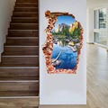 scenery 3D sticker Wall Sticker 60*90CM brook green hill mural Home Decor wall decals for kids room quarto landscape poster