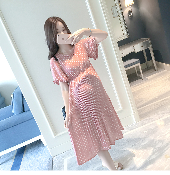 Casual Long Pregnancy Dresses For Women Short Sleeve Loose Maternity Dresses Summer New Chiffon Pregnant Dress Maternity Clothes (1)