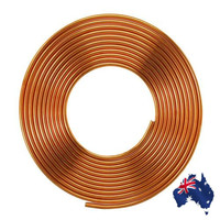 5m 3/8inch Soft Coil Pipe Copper Brass Tube Hose Air Conditioner Tube Refrigeration Copper Pipe Refrigerant Gas DIY Cooling