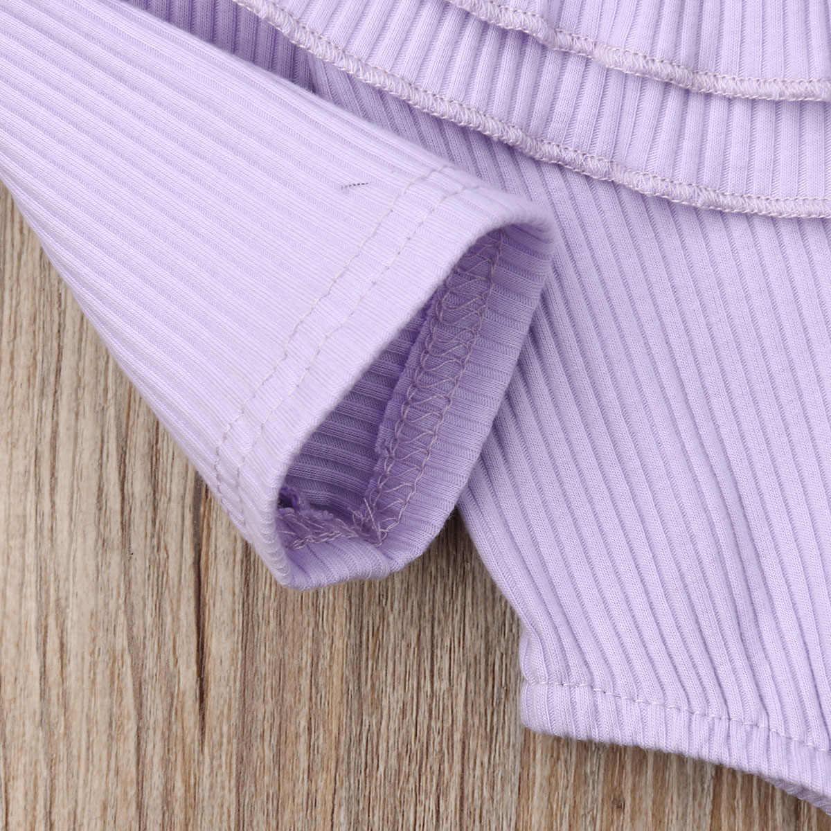 Новый летний комбинезон с оборками и длинными рукавами для маленьких девочек, 7 цветов, одежда для детей 0-24 месяцев