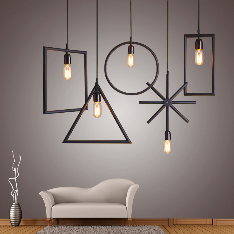 ФОТО Geometric art rectangle, square, circle, triangle, Asterisk Wrought iron pendant lights