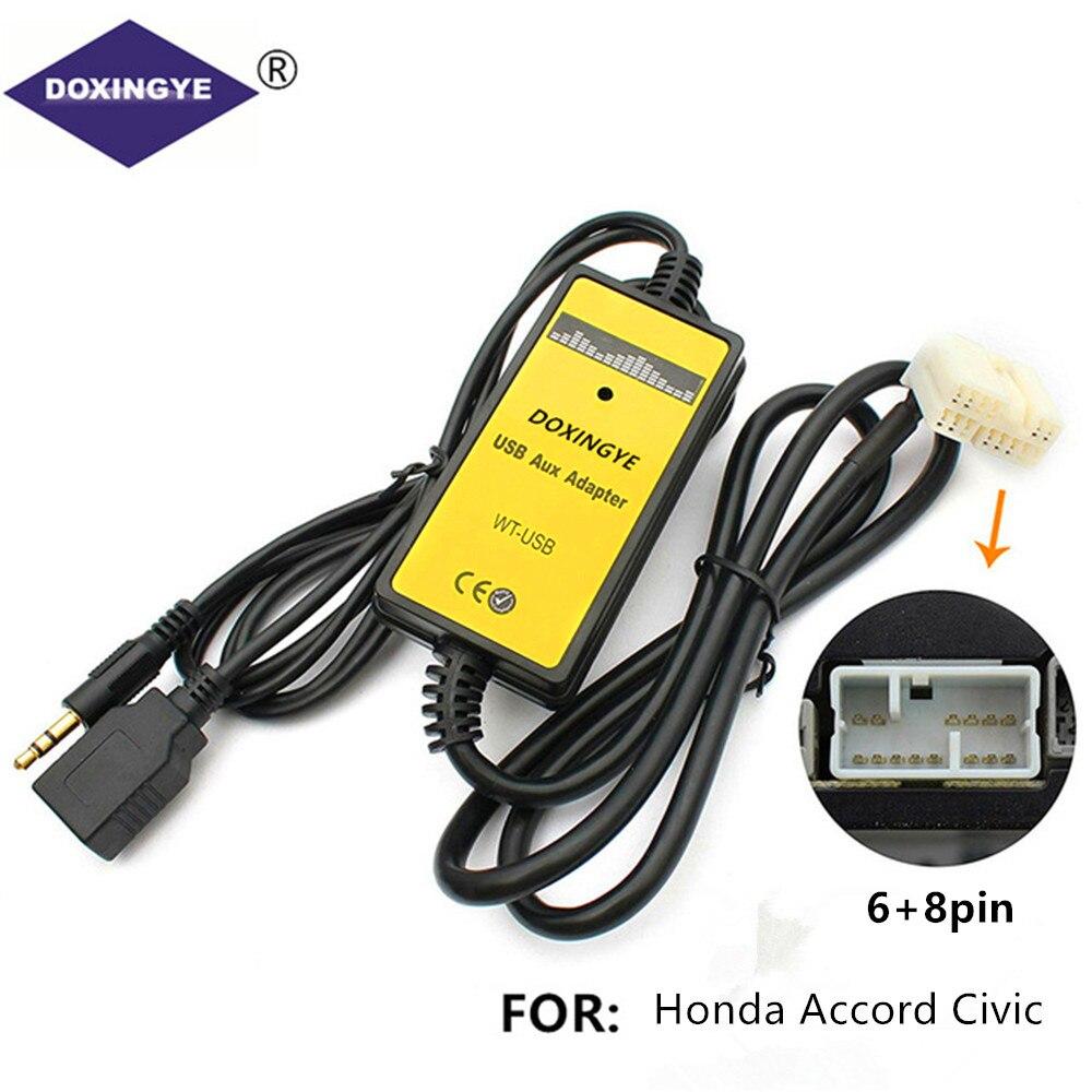 Doxingye carro rádio digital cd changer adaptador usb aux-in adaptador mp3 player interface de rádio para honda accord civic odyssey s2000