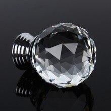 30 мм Хрустальные стеклянные алмазные ручки для мебели, ящики для шкафа+ Винтовые круговые дверные ручки, фурнитура для домашнего декора