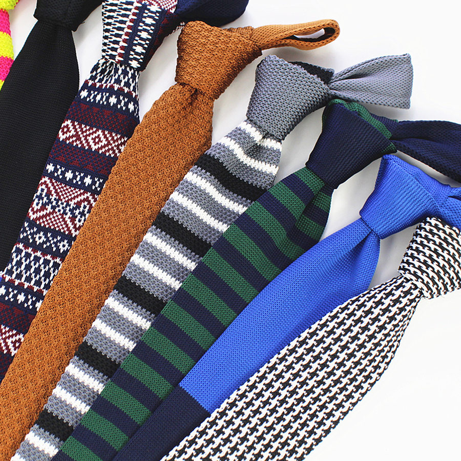 Ricnais New Fashion Male Knit Tie Brand Skinny Slim Designer Mens Knitted Neck Ties Cravate Narrow Skinny Neckties For Men