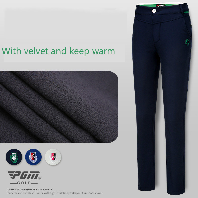 2018 PGM Women's velvet Golf pants lady slim spring pants high elastic sports trousers size XS-XL 2017 new jeans women spring pants high waist thin slim elastic waist pencil pants fashion denim trousers 3 color plus size