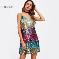 COLROVIE Colorful Sequin Party Club Dress 2017 Women Sexy A Line Mini Summer Cami Dresses Fashion