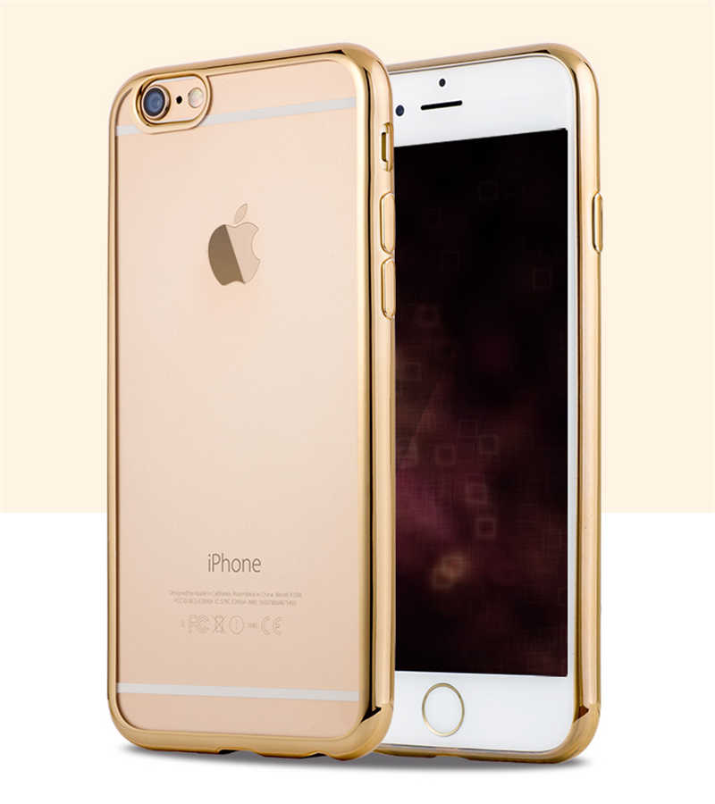 Funda para iPhone 5 SE 6 6S 7 8 Plus de lujo chapado dorado transparente silicona suave TPU funda para teléfono funda para iPhone X XR XS