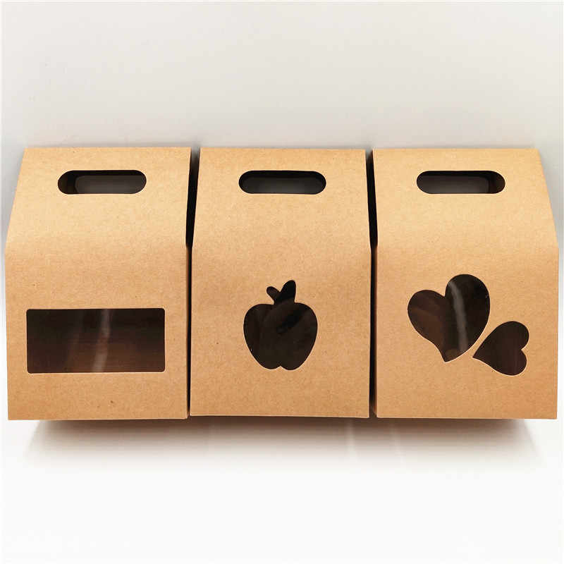10Pcs/Lot Apple Heart Shape Hollow PVC Window Kraft Paper Box Gift Packaging Bag Portable Handle Case Brown Retro Style Bags