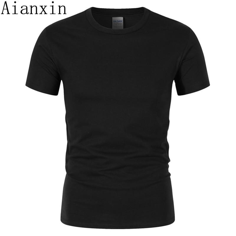1841994f3a1cb AIANXIN 2018 Лето новинка, модель высокого качества Мужская футболка  Повседневная коротким рукавом О-образным