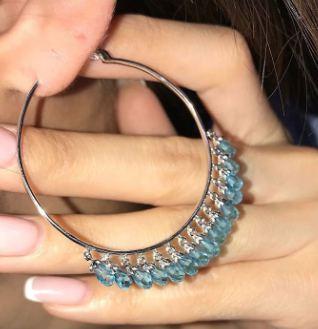 Waterdrop Crystal Tassel 925 Sterling Silver Round Hoop Earring  K Tassel Collar Necklace Jewelry Set Women Wedding Xmas Gift