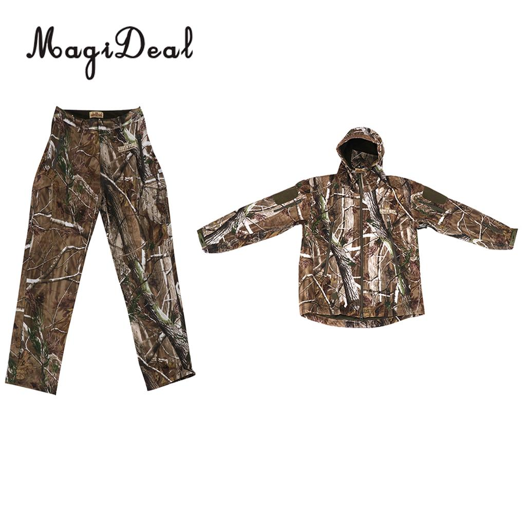 MagiDeal 3D Leaves Hunting Rainsuit Camo Hooded Jacket Pants, Trousers Camouflage Suit / M--XXL click to see detail pictures tropical tape detail hooded sweater shirt with drawstring pants