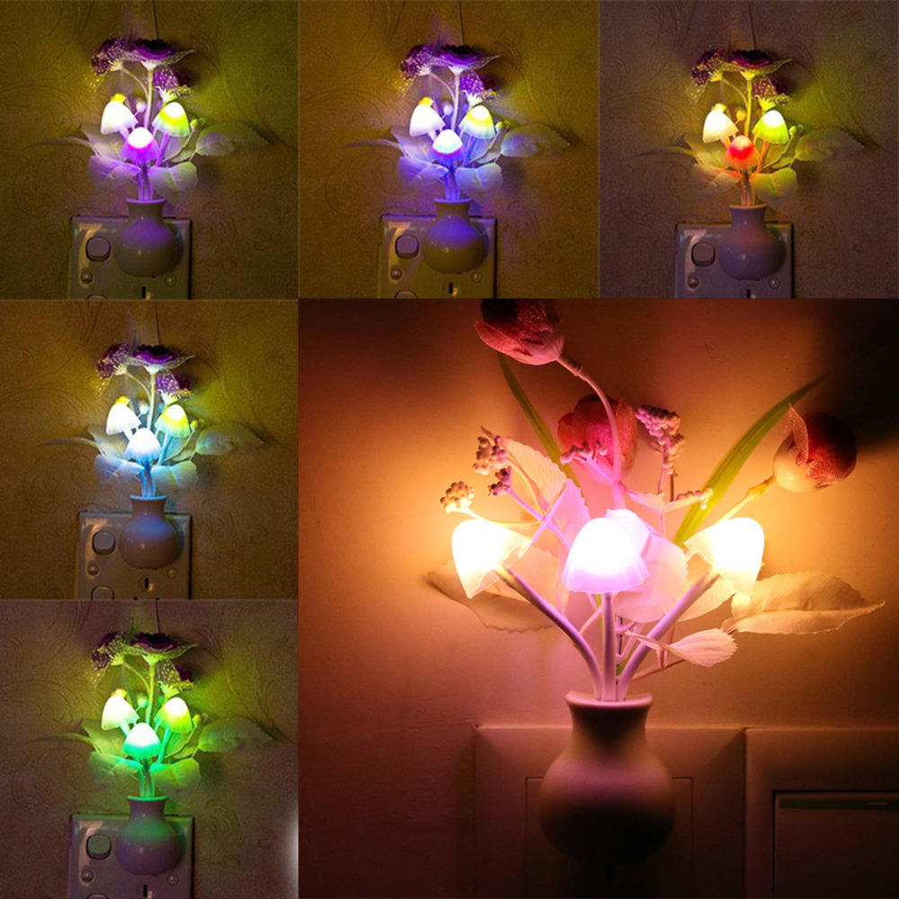 110V US Plug Mushroom Rose Light Sensor Lamp Nightlights  Colorful LED Night Light Lamp Home Bedroom Decoration For Baby Kids110V US Plug Mushroom Rose Light Sensor Lamp Nightlights  Colorful LED Night Light Lamp Home Bedroom Decoration For Baby Kids