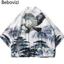 Bebovizi Chinese Style Eagle Printed Cardigan Kimono Japan Loose Thin Polyester Robe Mens Harajuku Streetwear Jacket Male Coat