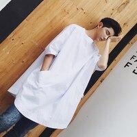 2017 الرجال أزياء نمط طويل السترة قميص الذكور فضفاضة قصيرة الأكمام القطن قمصان المعتاد