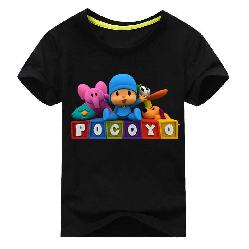 Crianças de Verão T-shirt de Manga Curta Para Os Meninos Roupas Das Meninas do Menino Camisetas Pocoyo Pato Elefante Cão Costume Imprimir camiseta Tops tee