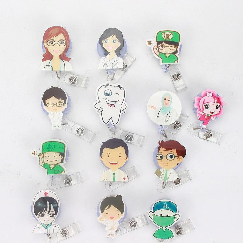 Retractable Badge Reel Nurse Exihibiton ID Name Card Badge Holder Office Supply
