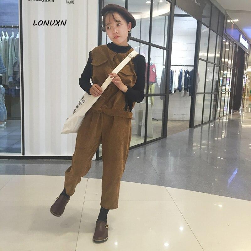 2 Kleuren Hoogwaardige Koreaanse Fashion Casual Pak Herfst Corduroy Vest Jas + Breed Been Broek Negen Pairs Broek Twee Stuk Vrouwelijke