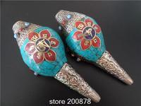 TBC980 Tibetan Silver capped Snail handicrafts Tibetan Buddhist music instrument,Buddhist decor arts 140mm long