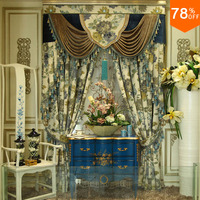 Water colour Flowers luxurious artist design Hook Hang style Living Room curtains of Restaurant Beige Green palace Hotel Curtain