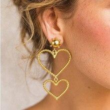 купить Fashion Gold Color Geometric Big Heart Shaped Earrings for Women Hollow Drop Earrings Jewelry Trend Bride Wedding Earring Girl по цене 131.33 рублей