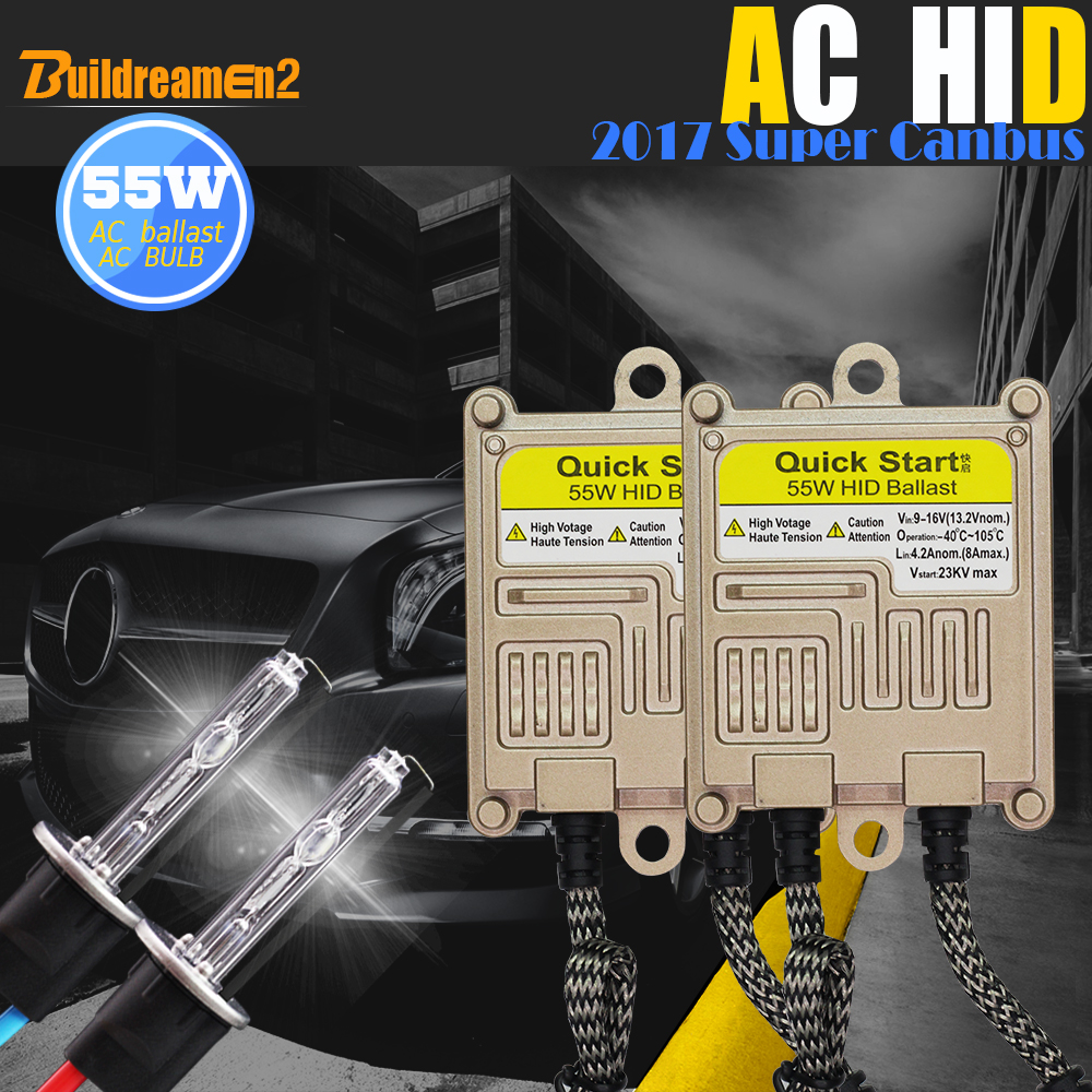 Buildreamen2 H1 H3 H7 H8 H9 H11 9005 9006 880 881 55W Canbus HID Xenon Kit 4300K AC Ballast Lamp Decoder Car Fog Light Headlight 1 pair canbus hid xenon kits car headlight slim ballast xenon bulb ballast conversion h1 h3 h7 h8 h9 h11 880 881 9005 9006