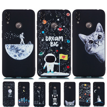 Ultra Thin Silicone Case for Huawei Honor 8C Cover 8 C 3D Painted Matte Starry Sky Universe Cat  Black Soft