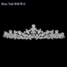 2016 New Bridal Wedding Tiara Crown Hair Jewelry Accessories Micro Pave AAA CZ Birthday Party Head Piece HG0056