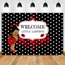 NeoBack Newborn Baby Shower Backdrop Welcome Little Ladybug Photography Background Red Party Banner Decorate Props