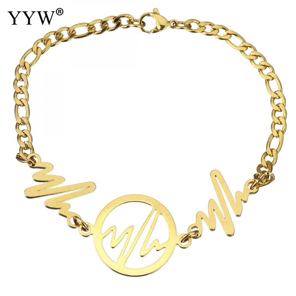 Stainless Steel Jewelry Bracelet gold color plated chain & for woman 27x20mm 21x17mm 4mm Sold Per Approx 8 Inch Strand