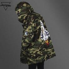 Aelfric Eden Winter Army Camouflage Jackets Thicken Longline Camo Hoody Jaqueta Masulina Justin Bieber High-quality Rocket Coats