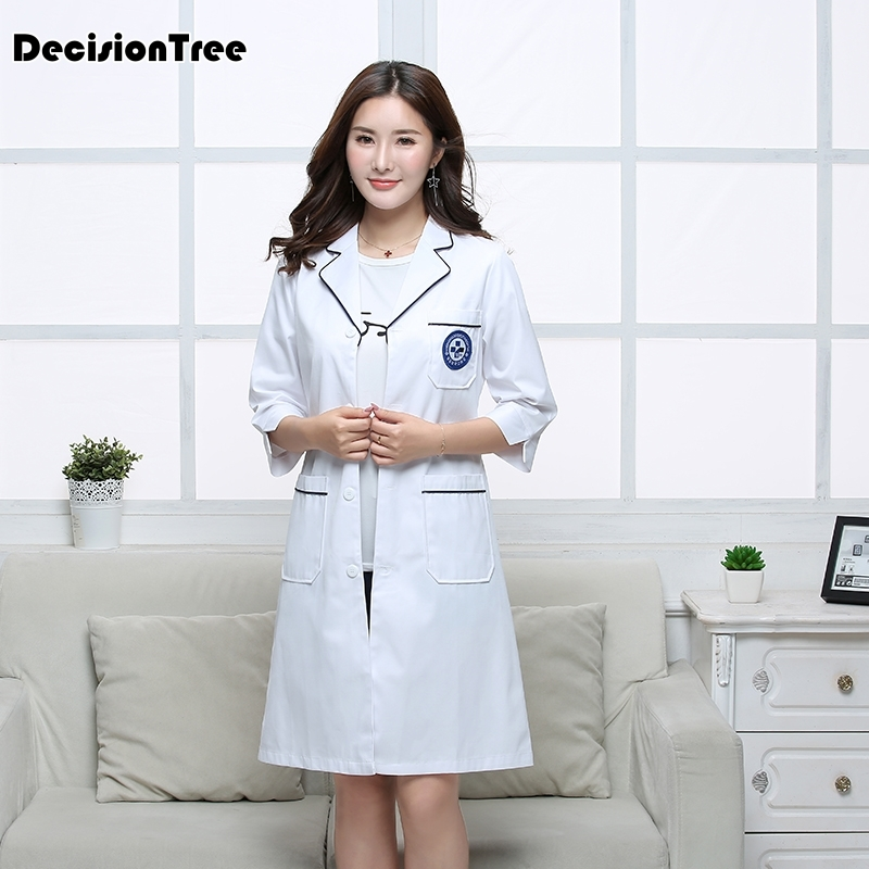 2020 Doctors Serving Long Sleeved White Coat Female Nurse Waist Overalls Short Sleeved Lab Coat Male Pharmacy