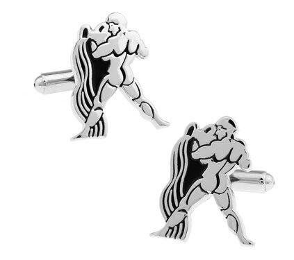 1 Pair Retail Mens Cufflinks Silver Color Brass Constellation Design
